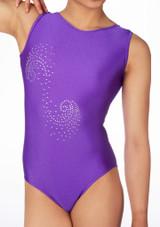 Justaucorps de gymnastique sans manches Swirl pour filles Alegra Violet avant #2. [Violet]