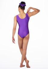 Justaucorps de gymnastique sans manches Swirl pour filles Alegra Violet arriere. [Violet]