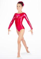Justaucorps de gymnastique a manches longues Stars pour filles Alegra Rose avant #2. [Rose]