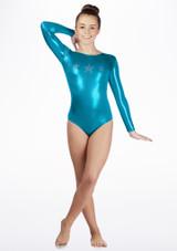 Justaucorps de gymnastique a manches longues Stars pour filles Alegra Bleue arriere #2. [Bleue]