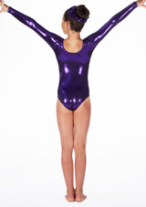 Justaucorps de gymnastique a manches longues Stars pour filles Alegra Violet arriere. [Violet]