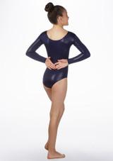 Justaucorps de gymnastique a manches longues Stars pour filles Alegra Bleue avant. [Bleue]