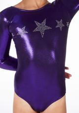 Justaucorps de gymnastique a manches longues Stars pour filles Alegra Violet avant #2. [Violet]