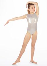 Justaucorps de gymnastique sans manches Zoella pour filles Alegra Argent avant. [Argent]