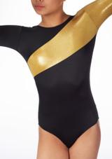 Justaucorps de gymnastique a manches longues Saturn Alegra Noir avant #2. [Noir-Or]
