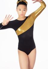 Justaucorps de gymnastique a manches longues Saturn Alegra Noir avant. [Noir-Or]