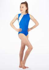 Justaucorps de gymnastique sans manches Anthem pour filles Alegra Bleue avant #2. [Bleue]