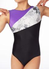 Justaucorps de gymnastique sans manches pour filles Alegra Venus Noir-Violet #3. [Noir-Violet]