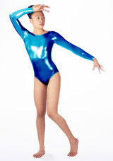 Justaucorps de gymnastique a manches longues Zoey pour filles Alegra Bleue avant #2. [Bleue]
