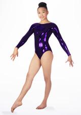 Justaucorps de gymnastique a manches longues Zoey pour filles Alegra Violet avant #3. [Violet]
