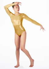 Justaucorps de gymnastique a manches longues Zoey pour filles Alegra avant. [Or]