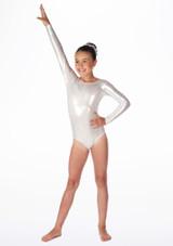 Justaucorps de gymnastique a manches longues Zoey pour filles Alegra Argent avant. [Argent]