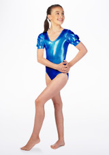 Justaucorps de danse metallique pour filles Alegra Rosalie Bleue avant. [Bleue]