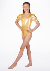 Justaucorps de danse metallique pour filles Alegra Rosalie avant. [Or]