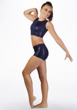 Short de gymnastique metallique pour filles Alegra Bleue laterale. [Bleue]