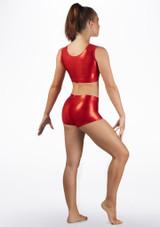 Short de gymnastique metallique pour filles Alegra Rouge arriere. [Rouge]