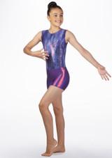 Short de gymnastique metallique pour filles Alegra Violet avant. [Violet]