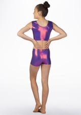 Short de gymnastique metallique pour filles Alegra Violet arriere. [Violet]