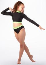 Culotte de danse taille haute pour filles Alegra Fuse Noir-Vert avant. [Noir-Vert]