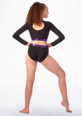 Culotte de danse taille haute pour filles Alegra Fuse Noir-Violet arriere #2. [Noir-Violet]