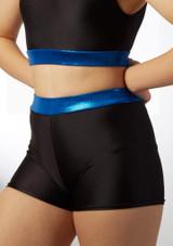 Culotte de danse taille haute pour filles Alegra Fuse Noir-Bleue avant. [Noir-Bleu foncé]