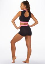 Short de danse avec taille Alegra Fuse Noir-Rose arriere. [Noir-Rose]