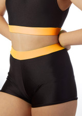 Short de danse avec taille pour filles Alegra Fuse Orange avant.