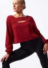 Sweat-shirt a decoupes Move Dance Dare Rouge avant. [Rouge]