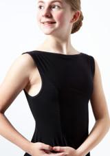 Robe lyrique asymetrique Portia pour adolescente Move Dance Noir avant #2. [Noir]