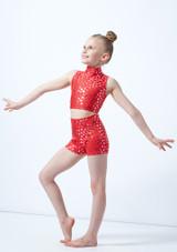 Crop top de danse a imprime metallise Maris pour filles Alegra Rouge avant. [Rouge]