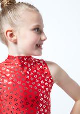 Crop top de danse a imprime metallise Maris pour filles Alegra Rouge avant #2. [Rouge]