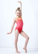 Justaucorps de gymnastique sans manches imprime rouge ombre pour fille Alegra Rose avant. [Rose]