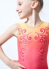 Justaucorps de gymnastique sans manches imprime rouge ombre pour fille Alegra Rose avant #2. [Rose]