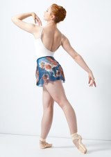 Jupe portefeuille en maille transparente a fleurs Ballet Rosa Bleue arriere. [Bleue]