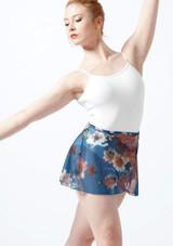 Jupe portefeuille en maille transparente a fleurs Ballet Rosa Bleue avant. [Bleue]
