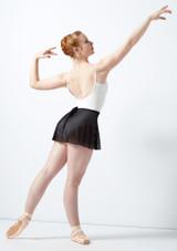 Jupe portefeuille en maille transparente floquee Ballet Rosa Noir arriere. [Noir]