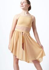 Demi-jupe lyrique asymetrique Erin pour adolescente Move Dance Fauve avant. [Fauve]