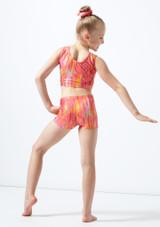 Short de gymnastique coucher de soleil pour filles Alegra Orange arriere. [Orange]