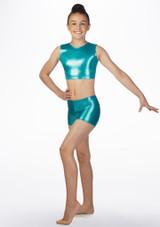 Haut court gymnastique metallique pour filles Alegra Bleue avant #2. [Bleue]