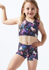 Crop top de gymnastique licorne pour filles Alegra Noir avant. [Noir]