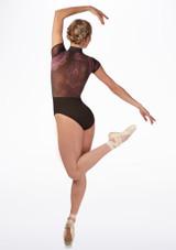 Justaucorps velours Ballet Rosa noir Violet avant #2. [Violet]