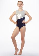 Justaucorps de gymnastique sans manches Georgie pour filles Alegra Bleue avant #2. [Bleue]