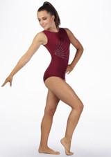 Justaucorps de gymnastique sans manches Firecracker pour filles Alegra Rouge avant. [Rouge]