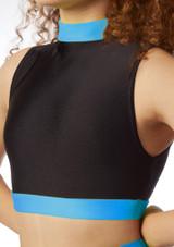 Haut court sans manches pour filles Alegra Fuse Bleue avant #4. [Bleue]