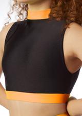 Haut court sans manches pour filles Alegra Fuse Orange avant. [Orange]