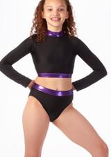 Haut court a manches longues pour filles Alegra Fuse Noir-Violet avant. [Noir-Violet]