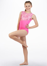 Justaucorps gymnastique sans manches Rave Alegra Rose avant. [Rose]