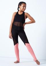 Haut de danse sans manches en maille transparente pour adolescente Bloch Noir avant. [Noir]