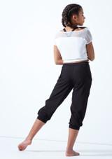 T-shirt de danse en maille transparente avec logo pour adolescente Bloch Blanc arriere. [Blanc]