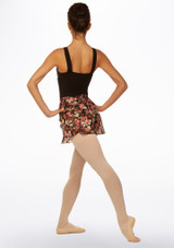 Jupe de danse portefeuille florale noir arriere. [Noir]